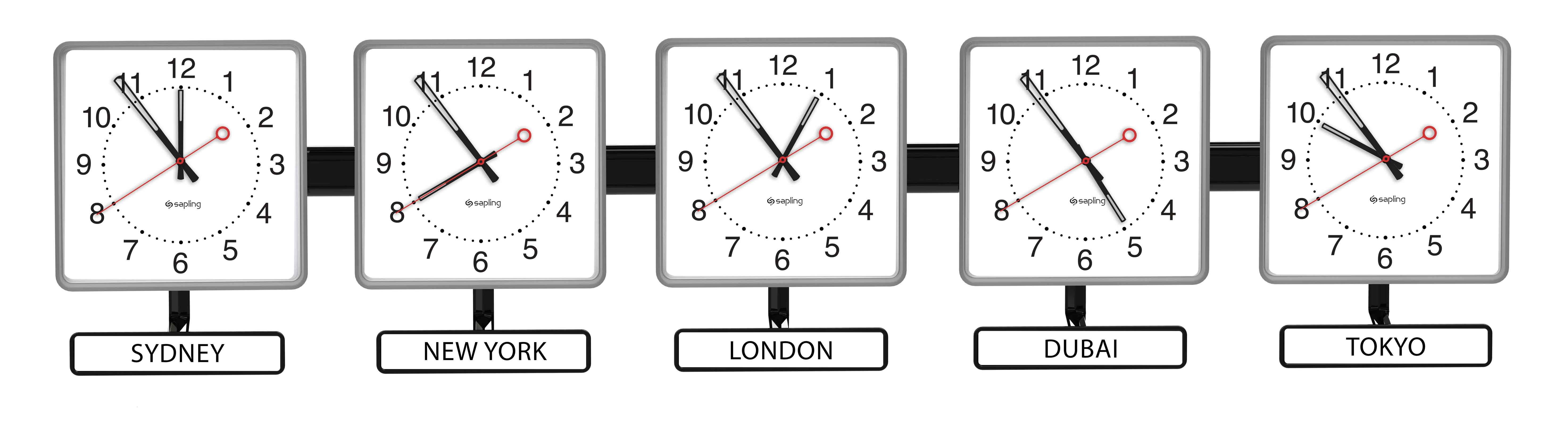 Sapling Square Time Zone Clocks