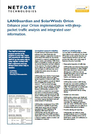 LANGuardian and SolarWinds Orion
