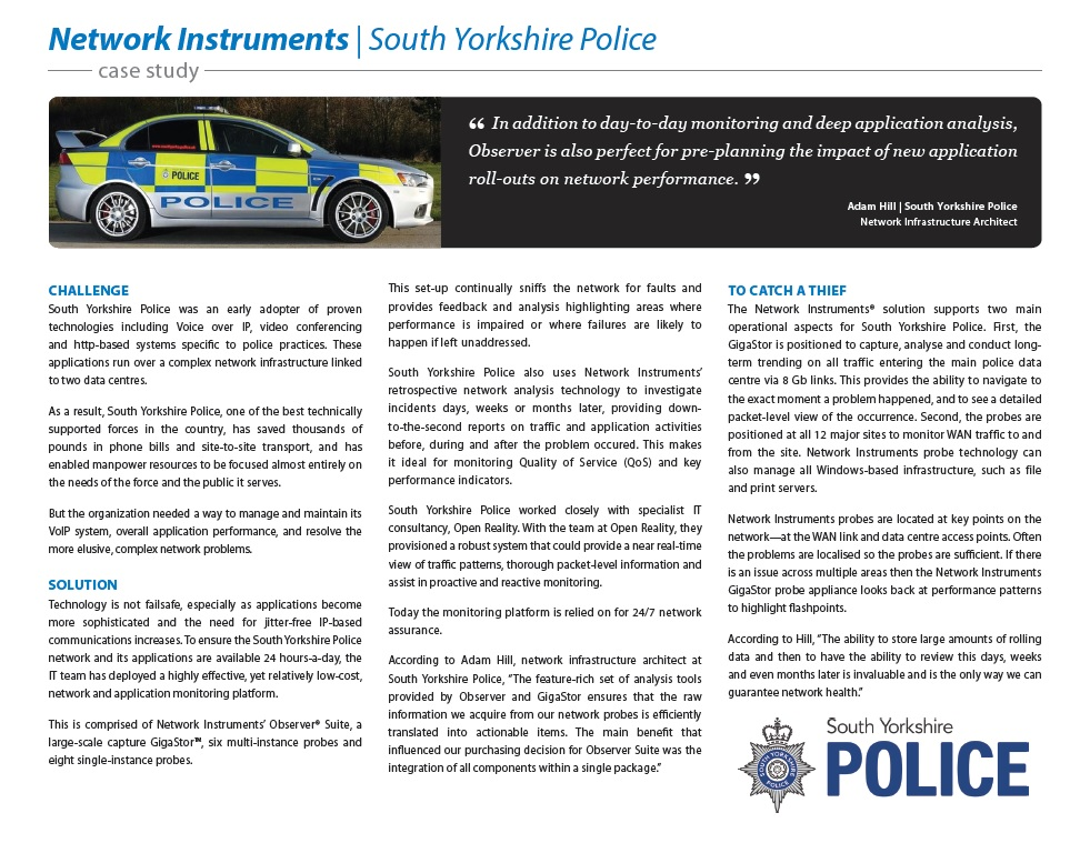 Network Instruments Case Study- South Yorkshire Police