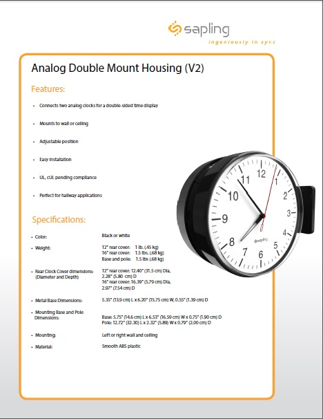 Analog Dbl Mount Housing Specs