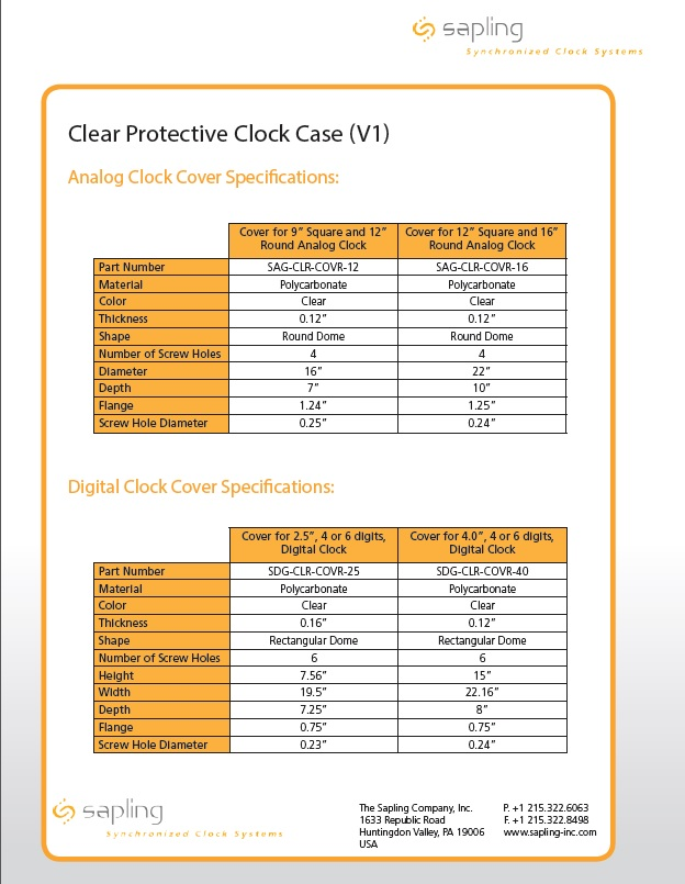 Clear Protective Clock Case specs