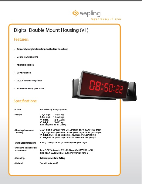 Digital Dbl Mount Housing Specs