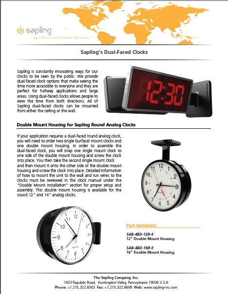 Sapling's Dual-Faced Clocks- Brochure