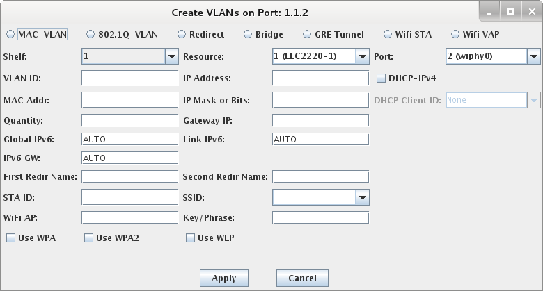 Candela Wifi LANforge Create VLAN's