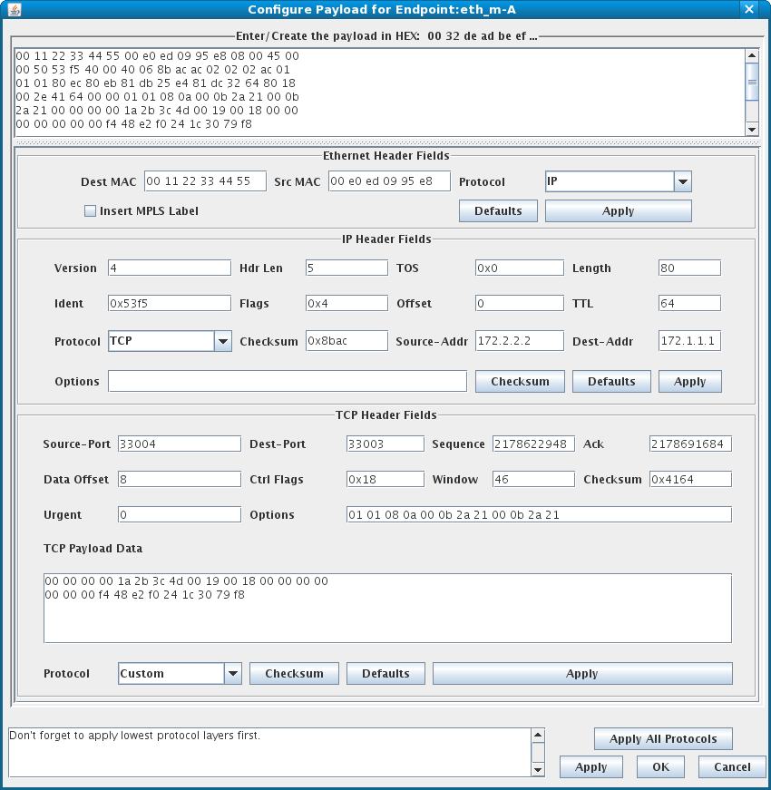 LANforge Custom Ethernet Payload Configuration Tool