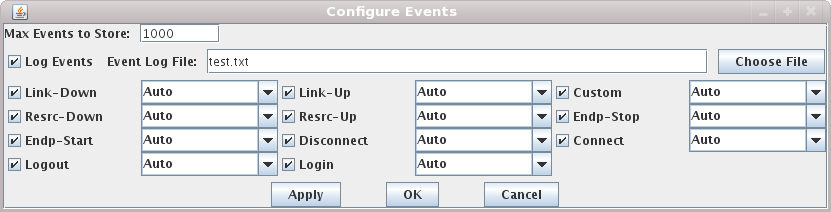 LANforge-GUI Event Log Configuration