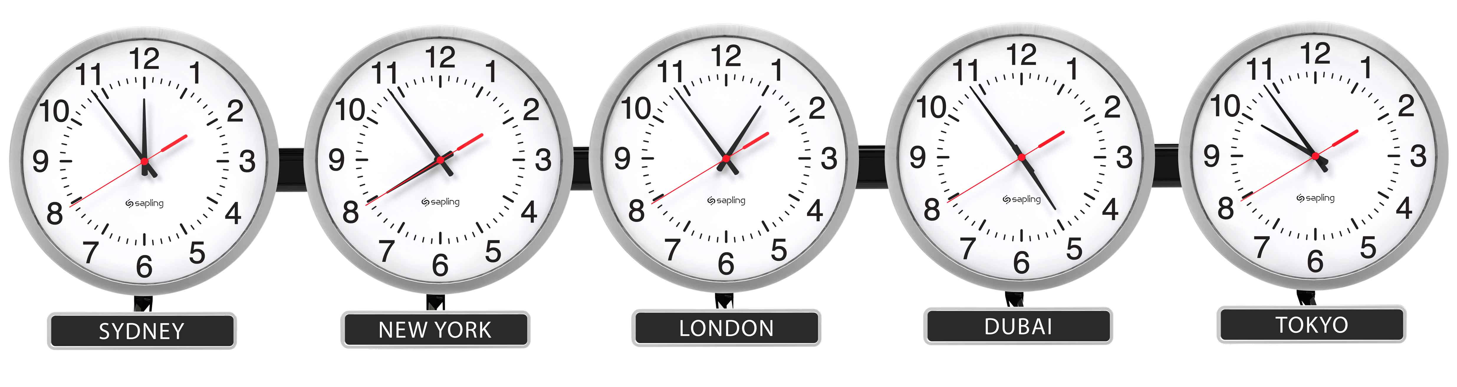 Sapling Round Analog Time Zone Clocks