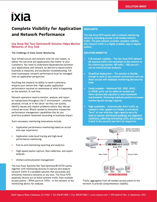 Ixia's Complete Visibility for Application and Network Visibility