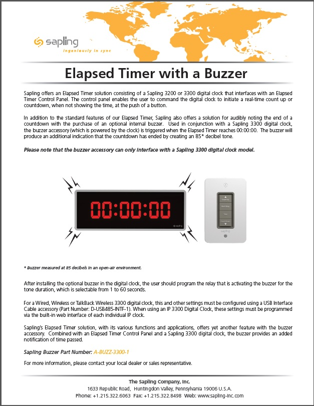 Sapling`s Elapsed Timer with a Buzzer- Brochure