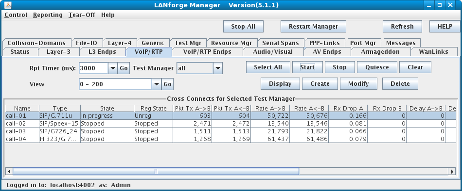 LANforge-GUI VOIP Cross-Connect Panel