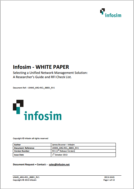 Infosim StableNet- Selecting a Unified Network Management System White Paper