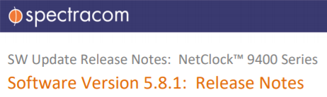 Spectracom – 9400 Release Notes