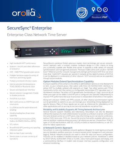 SecureSync Enterprise Network Time Server Datasheet