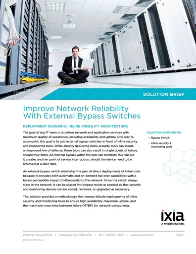 Ixia Improve Network Reliability With External Bypass Switches